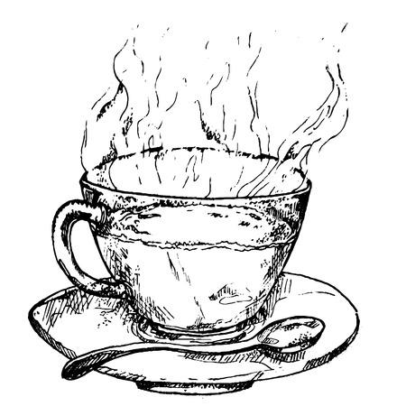 Black tea hand drawn sketch vector illustration. Lineart. African, indian, chinese tea, hot drink Ilustração