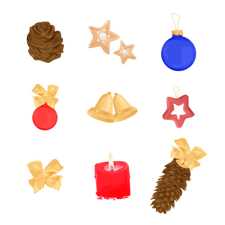 Set of Christmas objects - candle corn Christmas tree toy decoration