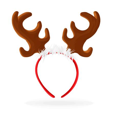 Template for a fun photo for horn Christmas reindeer cartoon