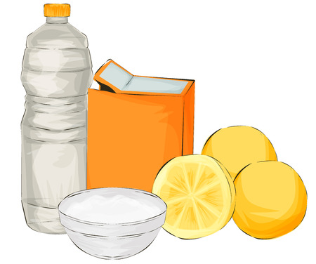 Vector illustration. Natural cleaning products are vinegar, baking soda, lemon - natural cleaning products