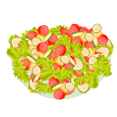Food illustration of fresh salad with tomatoes and other vegetables , cartoon style