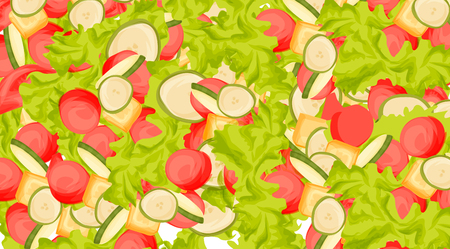 Illustrazione di cibo di insalata fresca con pomodori e altre verdure, in stile cartone animato Archivio Fotografico - 92042537