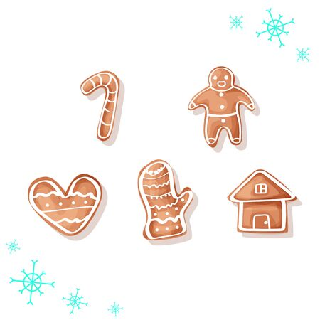 Gingerbread man, christmass and new year illustration, holiday sweets