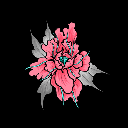 Print peony, vector Illustration flower. Object isolated.