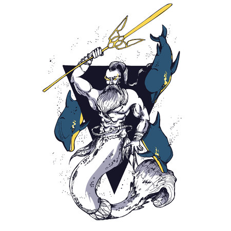 Creative modern print with Poseidon. T-Shirt Design Printing, clothes, bags, posters. Vector illustration hand drawn. Ukrainian simbols with dolphins