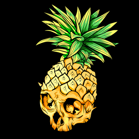 Vector skull pineapple. Exotic tropical fruit. Sketch,print. Pop art. Perfect for posters.
