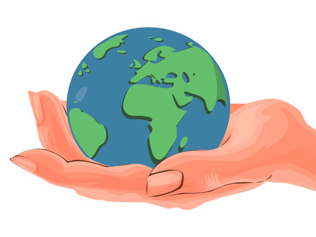 Happy Earth Day. Hand drawn vector cartoon illustration. Hands holding earth ball. For ecology poster.