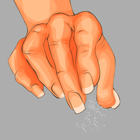 Human hand with salt isolated and illustration of human hand pouring powder.
