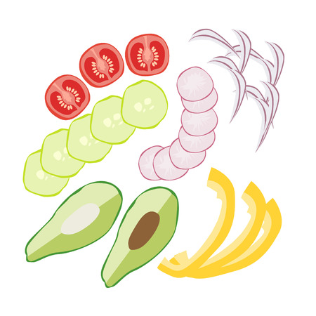 Set vegetables with avocado salad radishes onion tomatoes