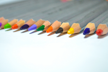 Color pencils isolated on white background bussines and education concept