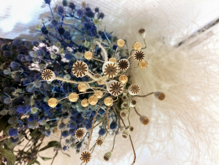 Beautiful blue and violet white bouquet composition of dried flowers with leaves, floral background. Floristic art decoration closeup, top view Reklamní fotografie