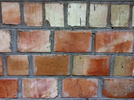 Outdoor Brickwall Background. Grungy Stone Wall Old Red Brown Brick Wall Square Texture. In Vintage Modern Style.