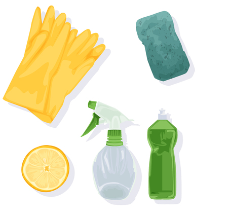 Household home objects collection. Hand drawing sketch vector illustration: gloves, sponge, detergent, spray, lemon