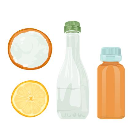 Ilustración de vector. Los productos de limpieza naturales son vinagre, bicarbonato de sodio, peróxido de hidrógeno de limón, productos de limpieza naturales.