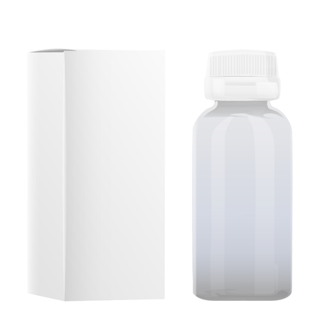 Blank Plastic Packaging Bottle with Cap for Pills Vector Isolated on white Background mock up