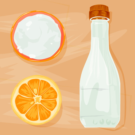 Vector illustration. Natural cleaning products are vinegar, baking soda, lemon - natural cleaning products on wood