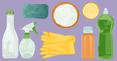 Household home objects collection. Hand drawing sketch vector illustration: vinegar lemon soda and gloves, sponge, detergent, spray