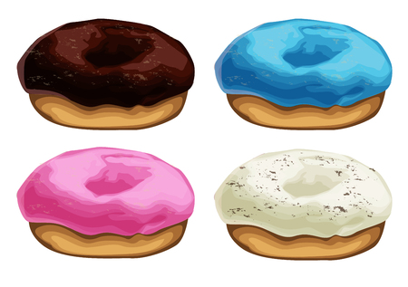 Set of colorful donuts isolated on white background. Doughnuts collection into glaze for menu design, cafe decoration, delivery box. vector illustration