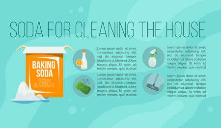 Baking soda illustration Flat style Natural cleaning 向量圖像