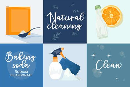 Baking soda illustration Flat style Natural cleaning Illustration