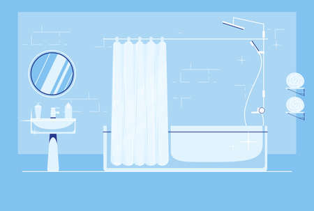 Clean bathroom with white fixtures flat design