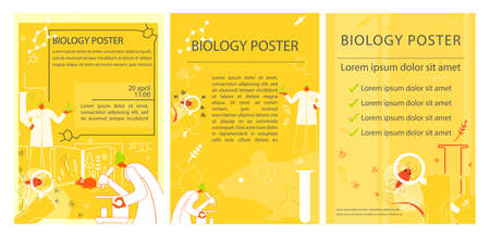 Set of bilology poster Science Bright natural flyers