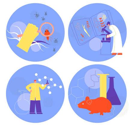 Set of biology illustrations Flat style Science Expirience