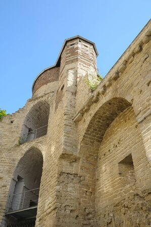Medieval wall of castle in Brussels, Belgium