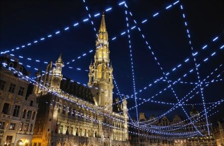 belgie: Nacht verlichting van de Grote Markt, Brussel