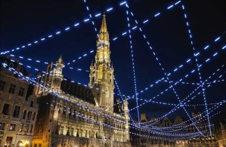 belgium: Night illumination of Grand Place, Brussels