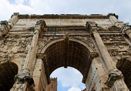 Arch of Triumph in Forum archeological site in Rome, Italy