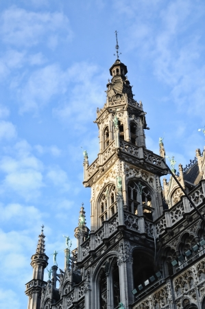 Top of medieval building on Grand Place in Brussels in cloudy day Stock Photo - 16425844