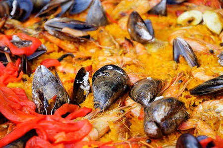 Spanish paella seafood photo