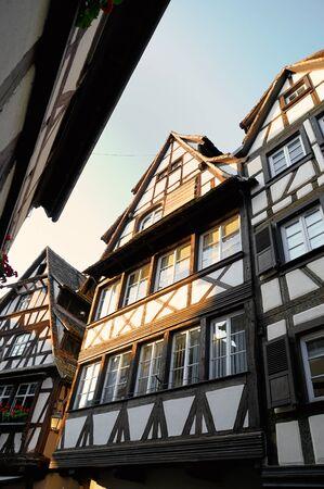 fachwerk: Medieval fachwerk buildings in Alsace, France in evening