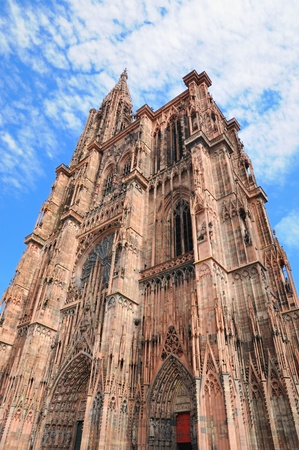 middleages: Angle view of tower of Cathedral in Strasbourg built from pink stones