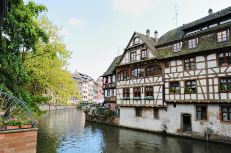 Panorama of Petit France area in Strasbourg in summer afternoon, no visible faces and logos