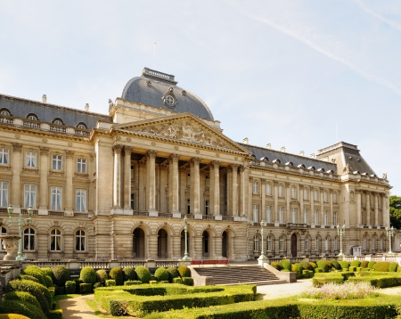 View from Place des Palais of Royal Palace in historical center of Brussels, Belgium