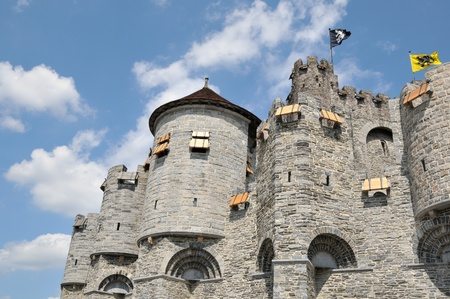 Medieval Castle in historical center of Ghent city, Belgium, decorated with local provinces flags