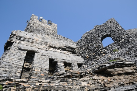 Ruins of medieval fortress in Portovenere, Italy photo