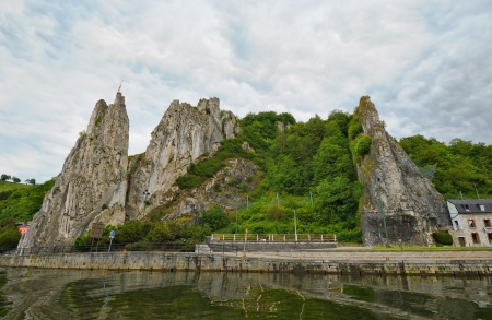 wallonie: Bayard Rocks in Dinant on the right bank of the river Meuse, Belgium