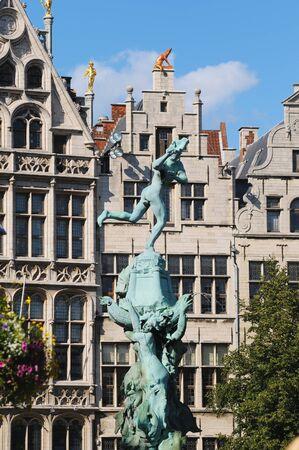 Historical Brabo fountain on Grote Markt in Antwerp, Belgium Stock Photo - 16869114