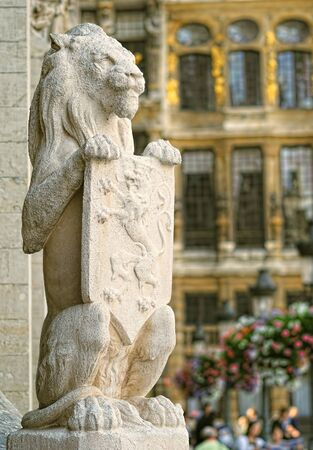 Guardian lion from medieval town hall on Grand Place in Brussels, Belgium