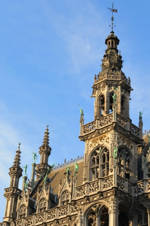 Details of neogothic facade of historical building on Grand Place in Brussels, Belgium in sunny day