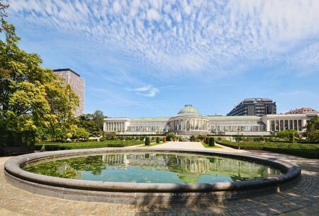Historical Botanique garden in center of Brussels, Belgium Editorial