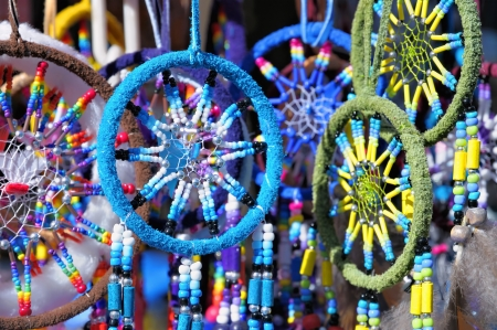 legends folklore: Fluffy variety of dream catchers on artisan market