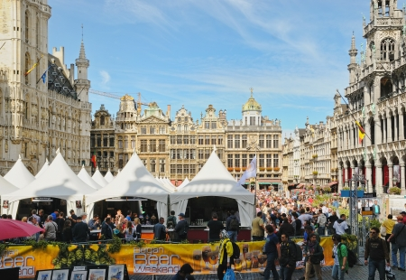 BRUSSELS, BELGIUM-SEPTEMBER 1: Thousands of tourists were attracted to Grand Place by Belgian Beer Weekend started on September 1, 2012 in Brussels. This is public event dedicated to Belgian beer