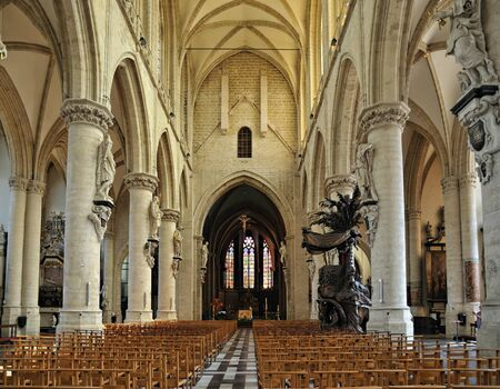 BRUSSELS, BELGIUM-JULY 25: Interior of Grand Sablon - Eglise de la Chapelle church on July 25, 2008 in Brussels. The church is known from 1134. Editorial