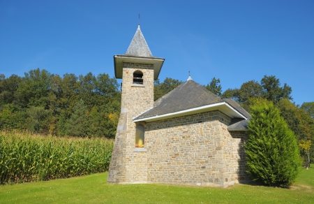Road side small typical chapel in Walloon, Belgium in clear day Stock Photo - 18085325