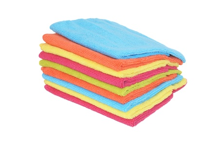 Stack of different microfiber napkins isolated on white photo