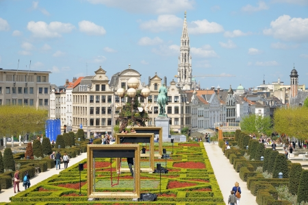 BRUSSELS, BELGIUM-MAY 5  Decorated Le Mont des Arts in annual Day of Iris - Fete de l